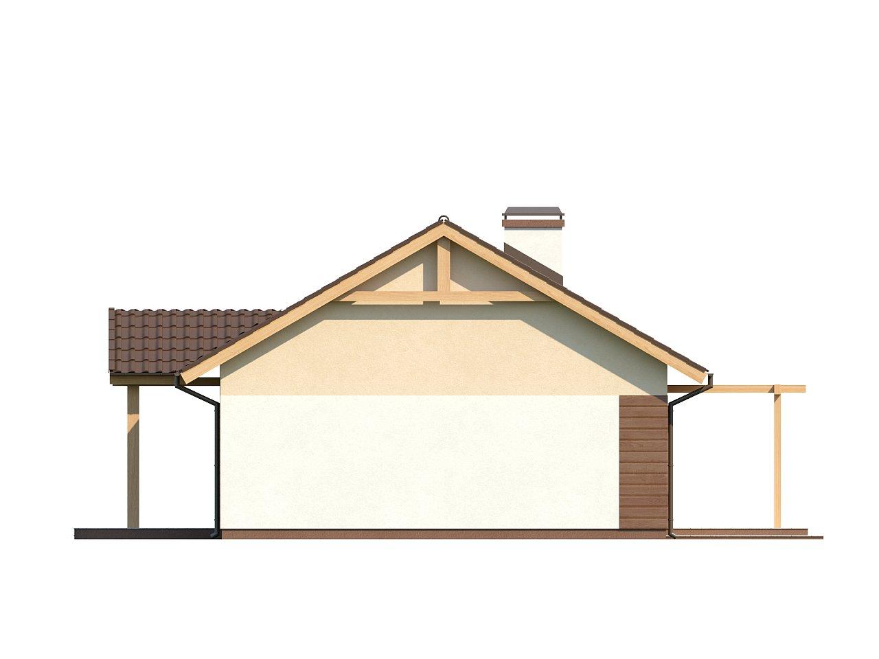 Аккуратный одноэтажный дом простой формы с двускатной крышей. 5