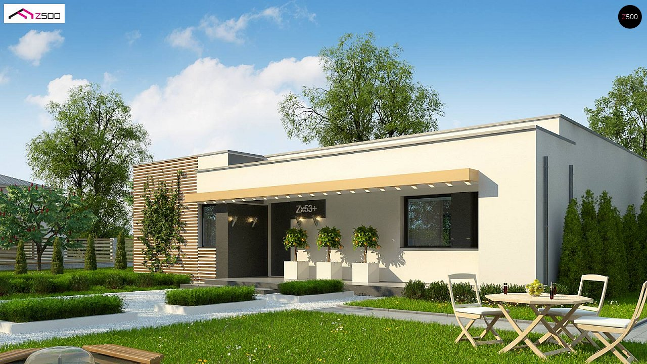 Современный комфортабельный одноэтажный дом с функциональным интерьером и уютной террасой. 2