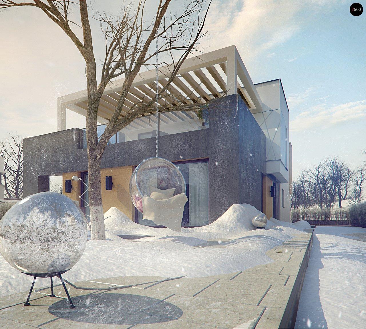 Дом характерного современного дизайна с гаражом и кабинетом на первом этаже. - фото 9