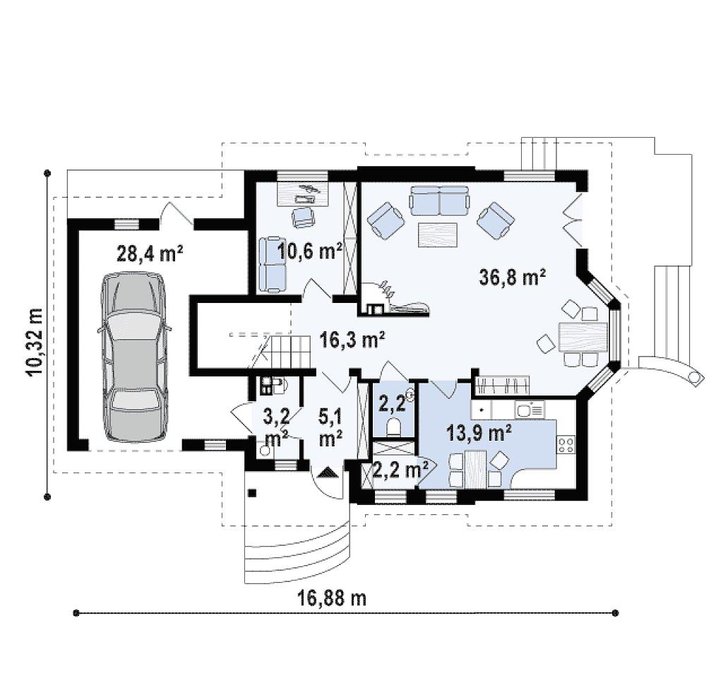 Версия проекта Z28 с пристроенным гаражом. план помещений 1