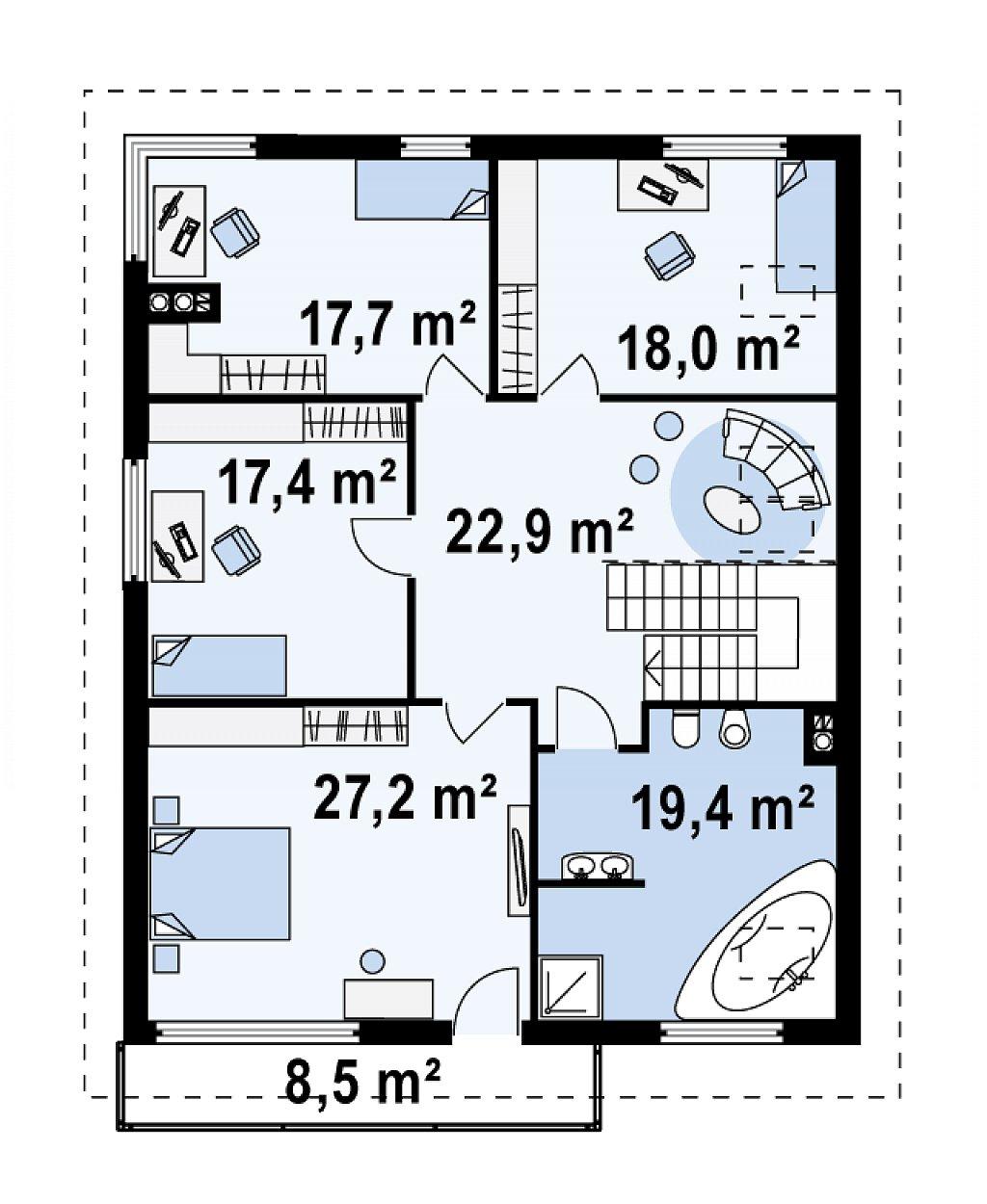 Проект выгодного и практичного двухэтажного дома с подвальным помещение, с дополнительной комнатой на первом этаже. план помещений 3