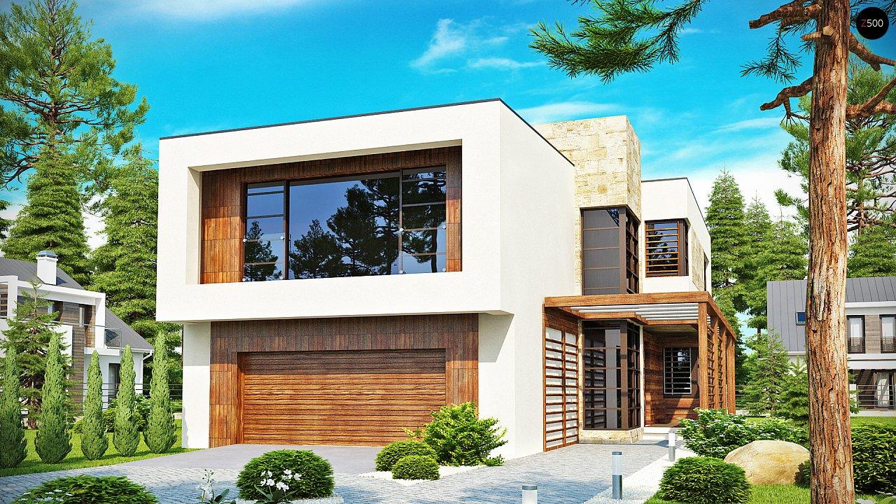 Двухэтажный дома в стиле модерн с практичным интерьером и гаражом для двух автомобилей. 1