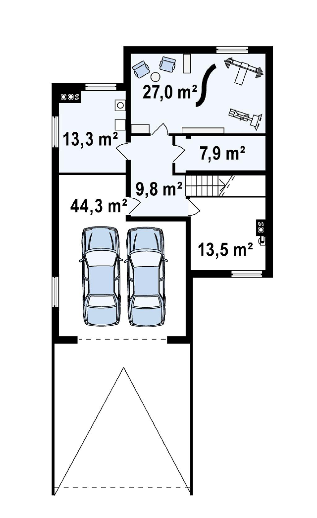 Проект выгодного и практичного двухэтажного дома с подвальным помещение, с дополнительной комнатой на первом этаже. план помещений 1