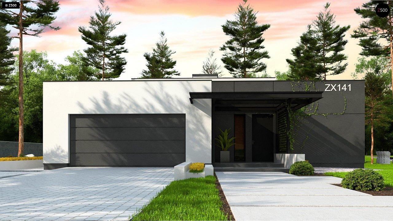 Проект современного одноэтажного дома с плоской кровлей. - фото 3