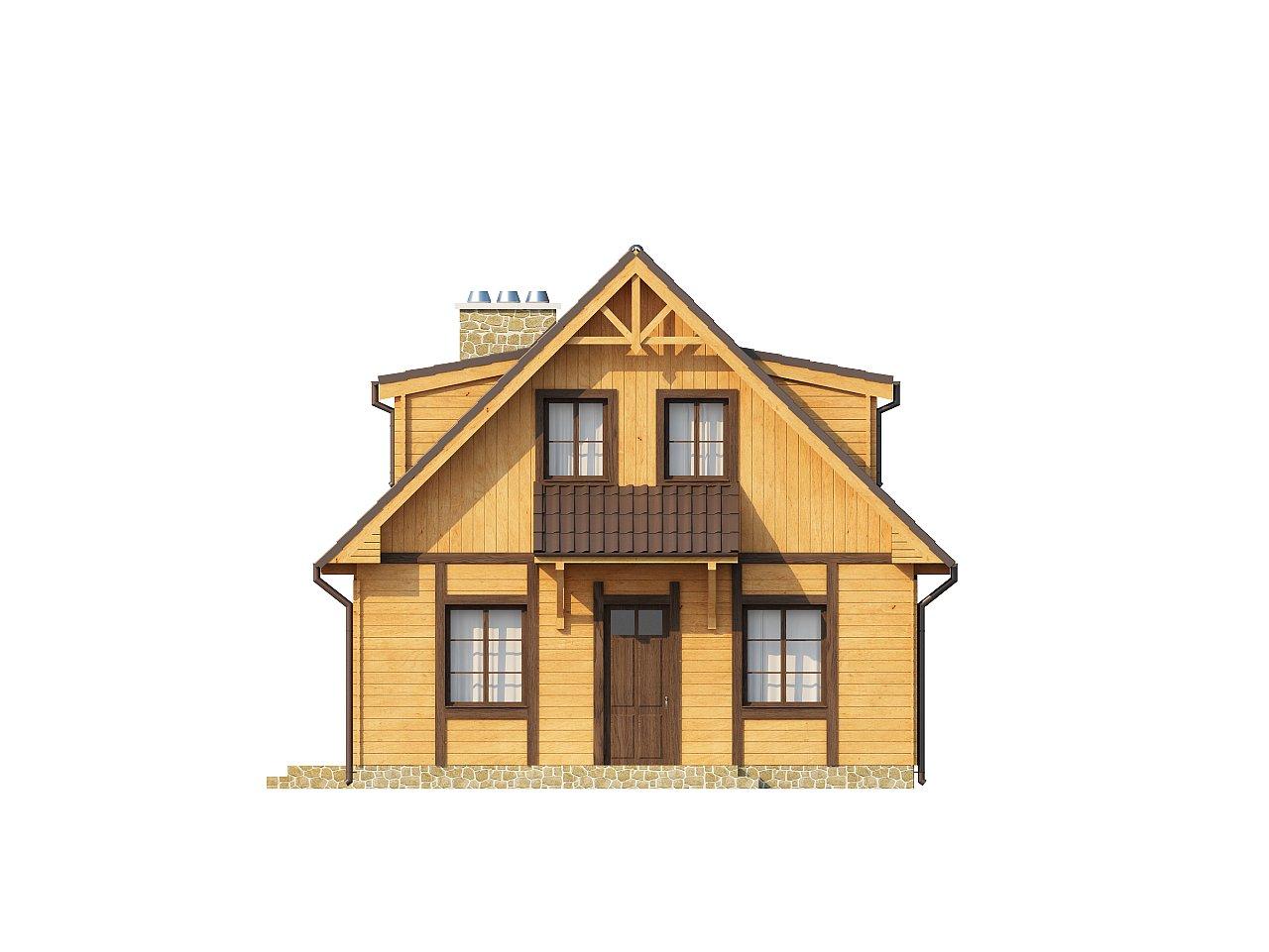 Компактный дом с мансардой, с крытой террасой и внешним камином. 12