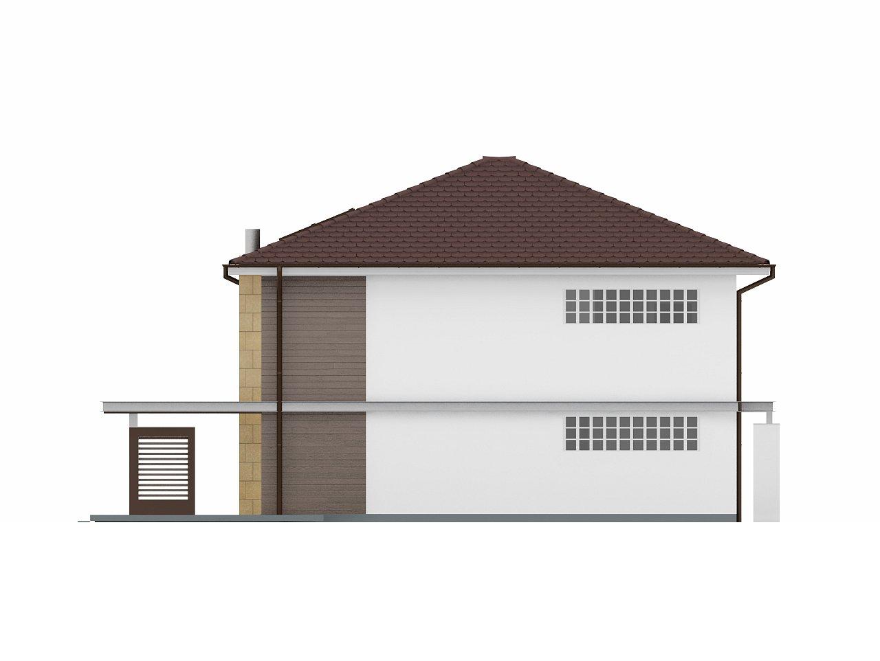 Двухэтажный дом простой формы со вторым светом над гостиной и встроенным гаражом. - фото 4