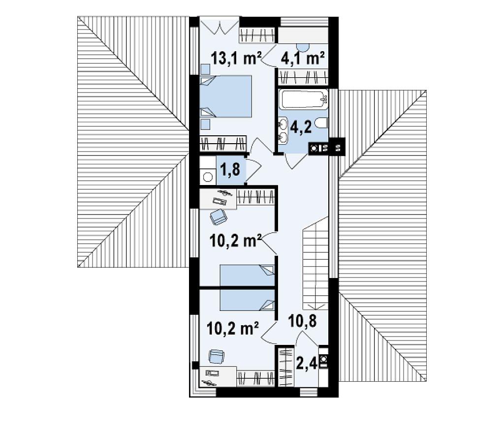 Проект удобного двухэтажного дома в стиле модерн с боковым гаражом. план помещений 2