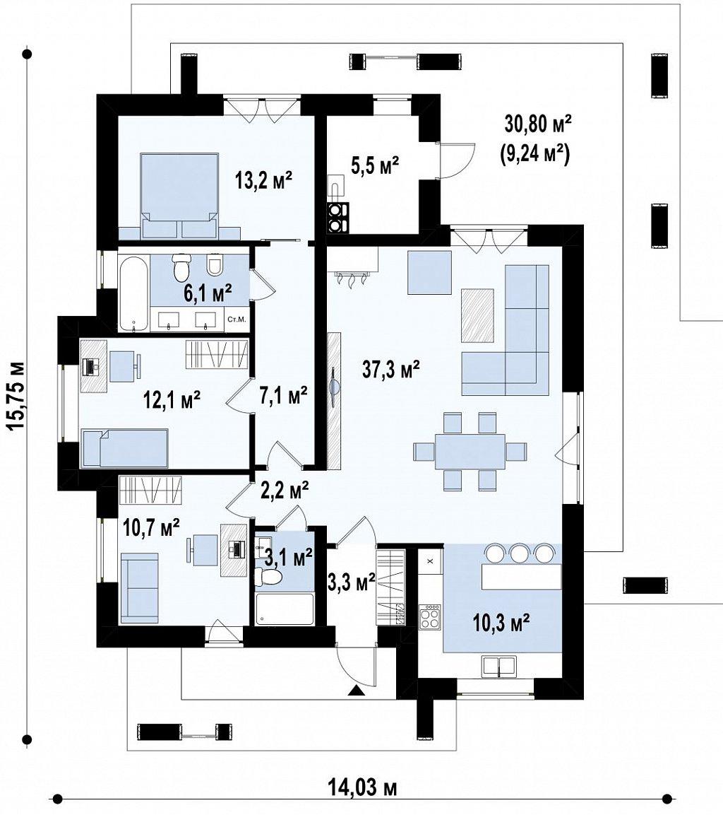 Одноэтажный современный дом с плоской крышей план помещений 1