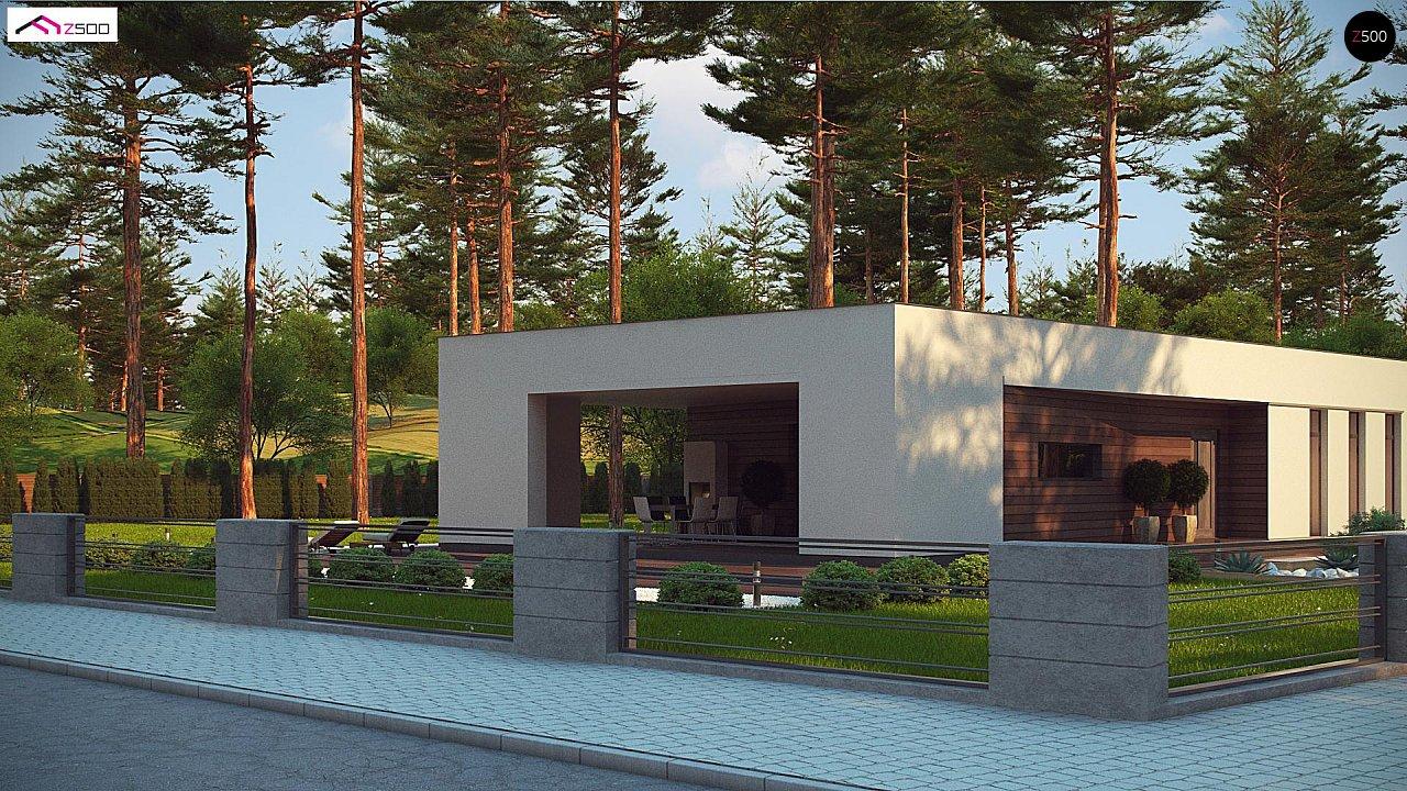 Современный одноэтажный дом с боковой террасой 3