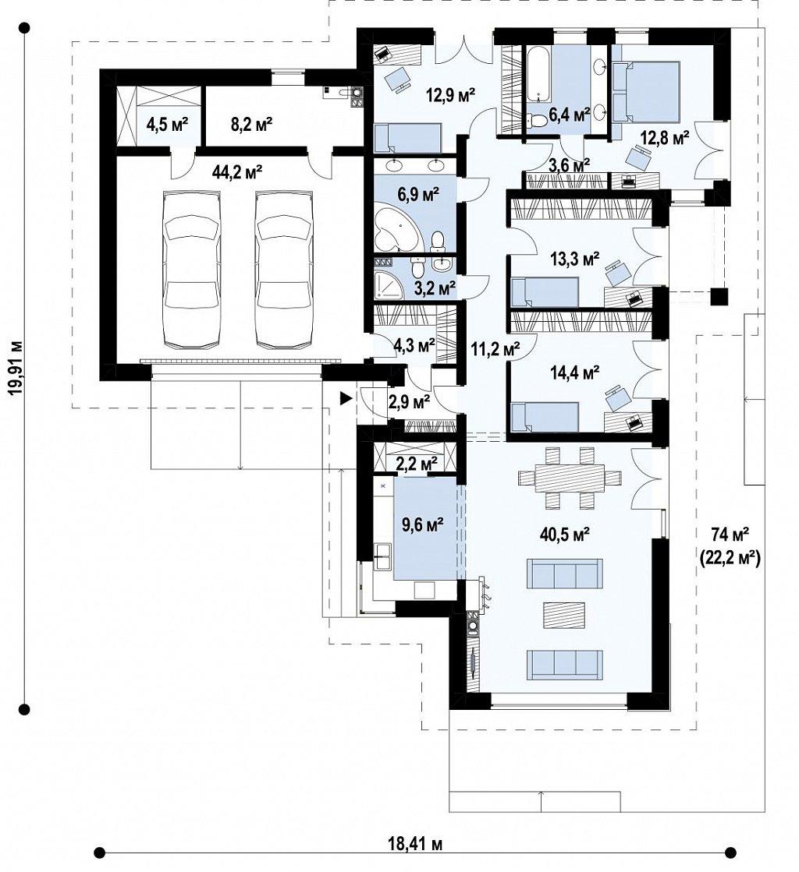 Стильный одноэтажный дом с панорамным остеклением в гостиной план помещений 1