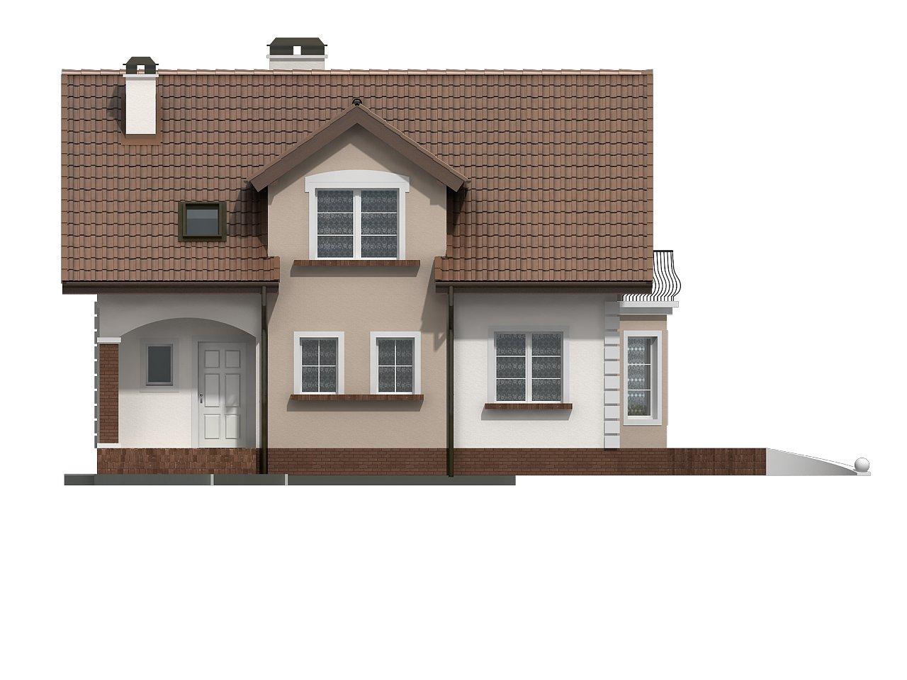 Элегантный дом с мансардой, эркером и балконом над ним. 5
