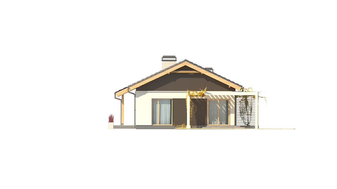 Небольшой одноэтажный дом с большой площадью остекления в гостиной. 13