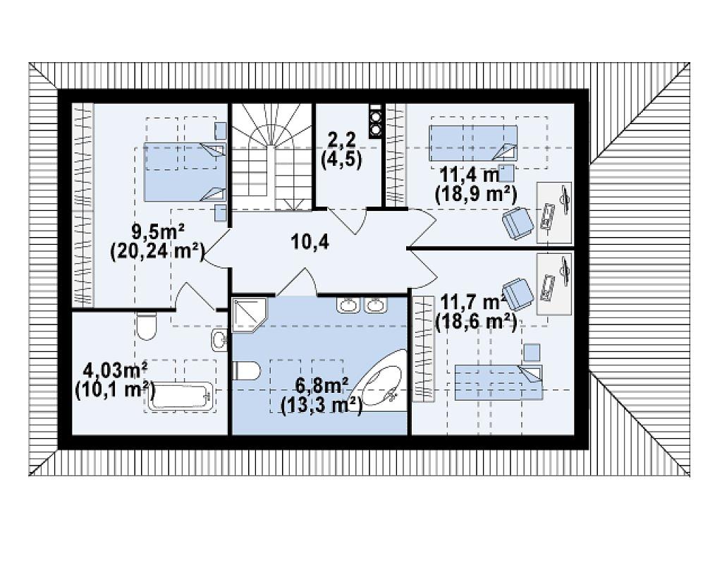 Версия проекта Z85 с современным оформлением фасадов. план помещений 2