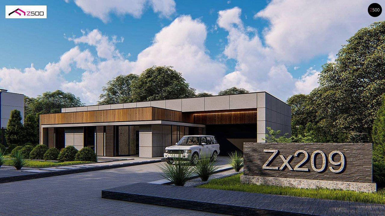 Современный одноэтажный дом c плоской кровлей и просторным гаражом для двух автомобилей. 1