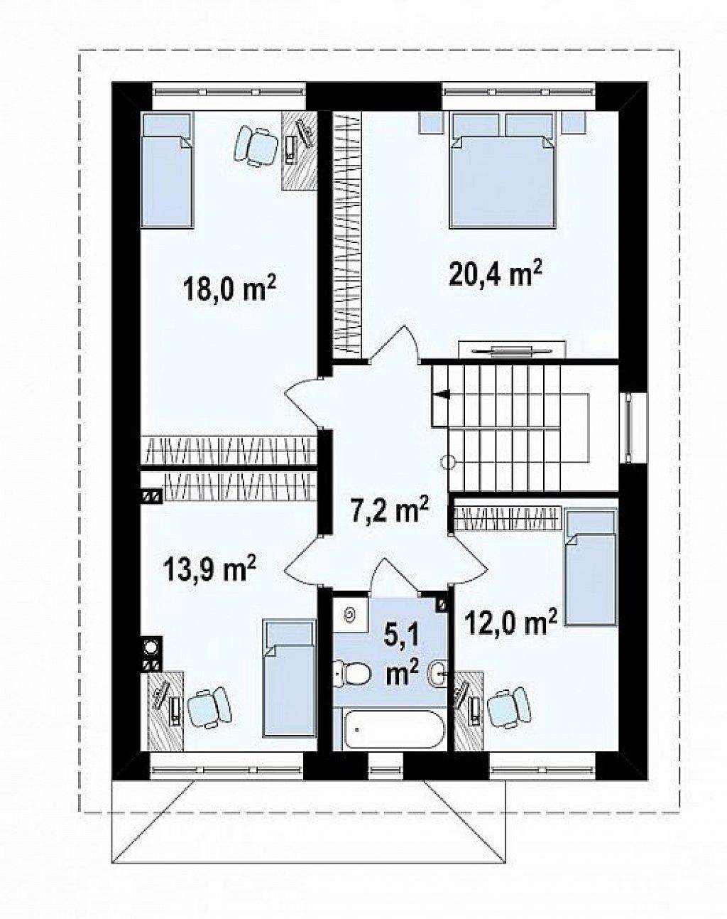 Проект элегантного дома с четырехскатной кровлей. план помещений 2