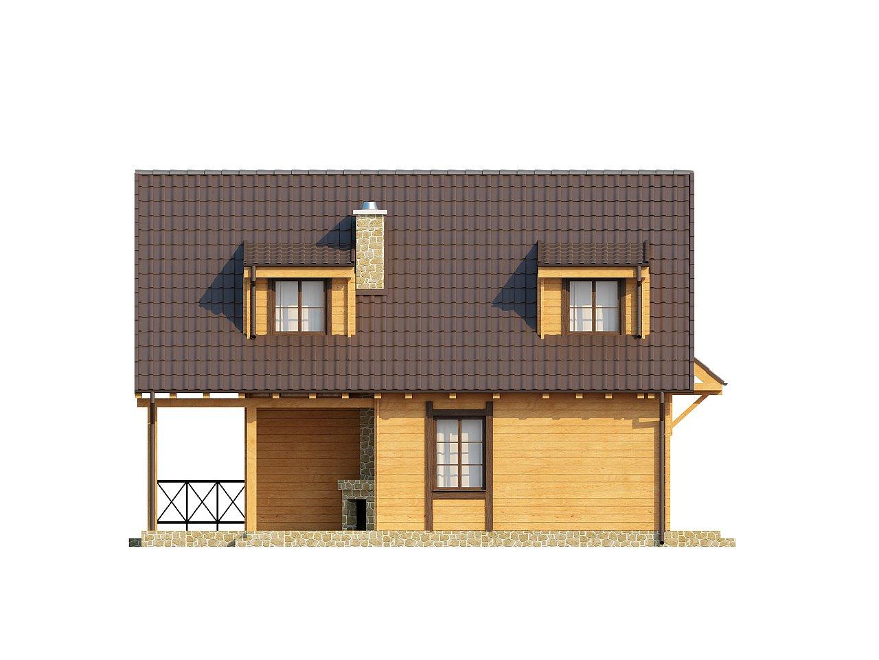 Компактный дом с мансардой, с крытой террасой и внешним камином. 15