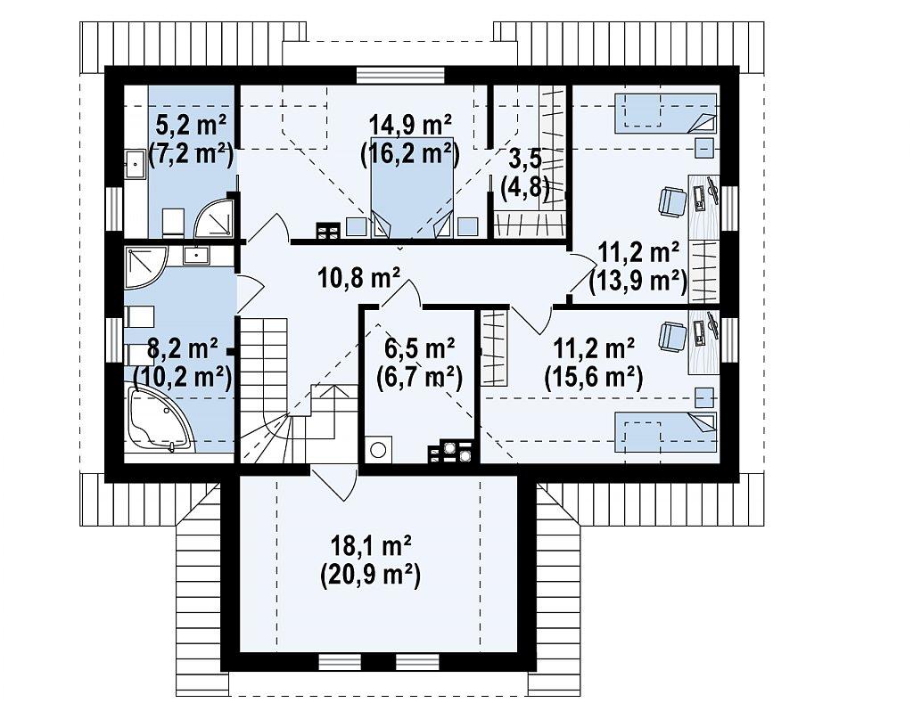 Современный жилой дом с гаражом план помещений 2