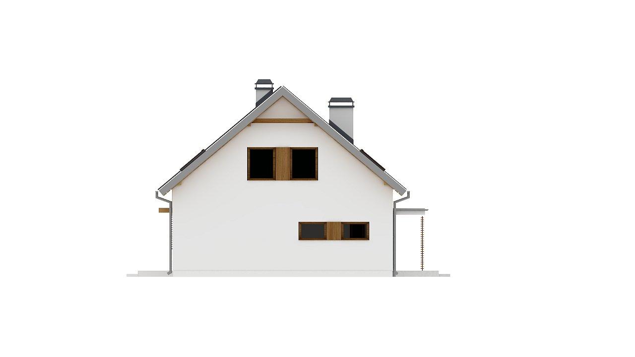 Аккуратный дом простой традиционной формы с гаражом и дополнительной спальней на первом этаже. 24