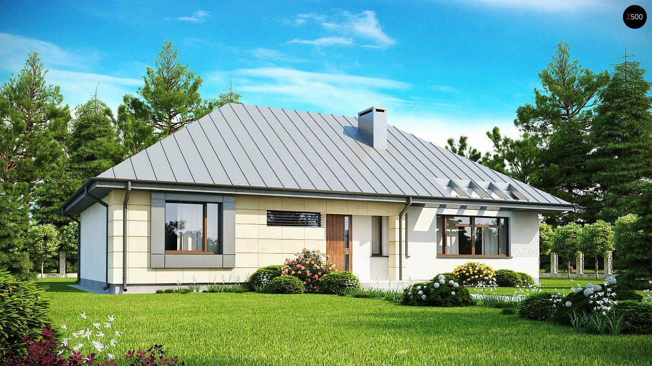 Одноэтажный дом с возможностью обустройства чердачного помещения, оптимальный для южного въезда на участок. 1