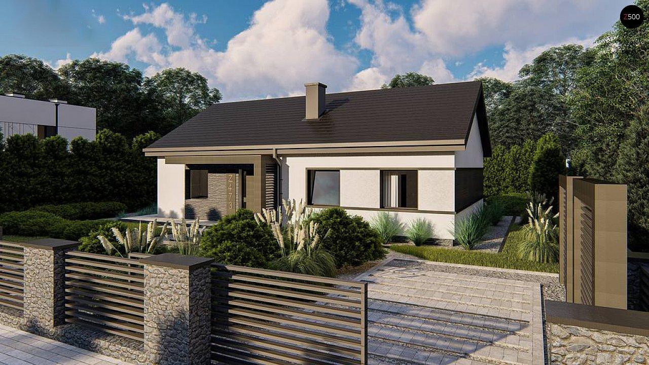 Классический одноэтажный дом с двускатной крышей 2