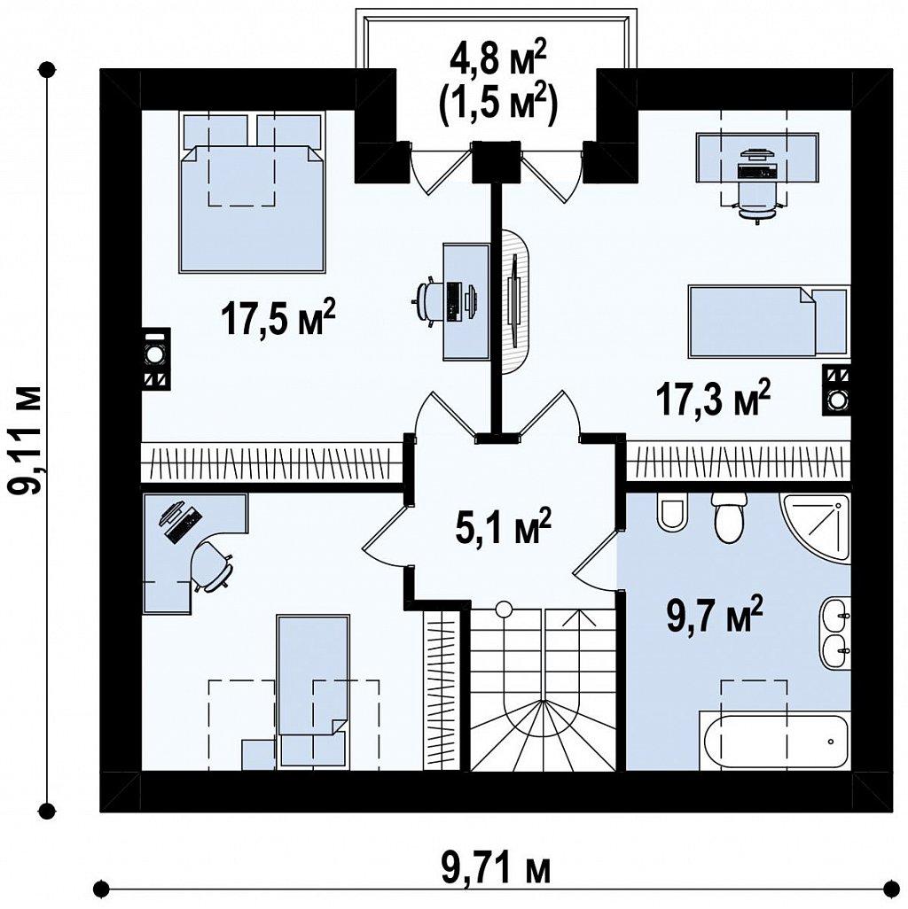 Стильный дом с мансардным окном и балконом, а также кухней со стороны сада. план помещений 2