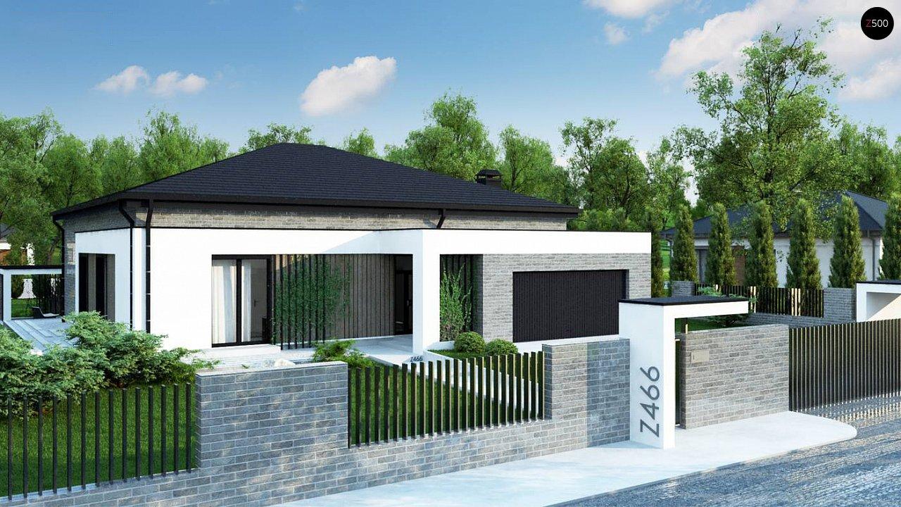 Традиционный одноуровневый дом с функциональным расположением комнат и гаражом на 2 авто. 2