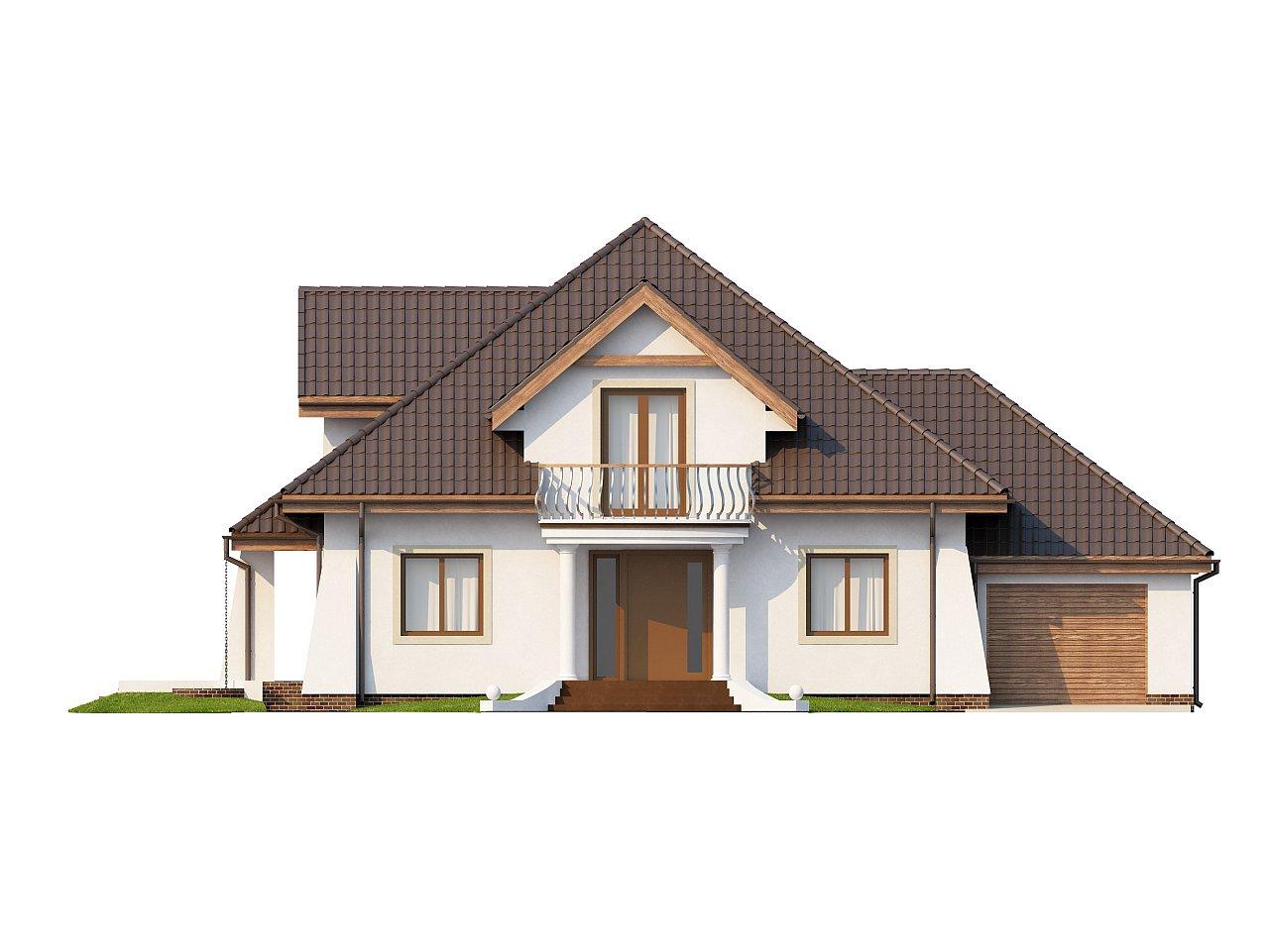 Удобный дом в классическом стиле с красивыми мансардными окнами и балконом. 3