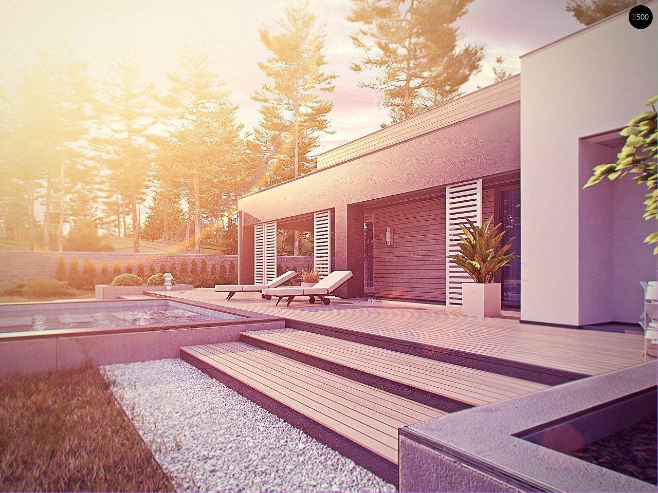 Одноэтажный дом в стиле хай-тек с плоской кровлей и большой площадью остекления. 14