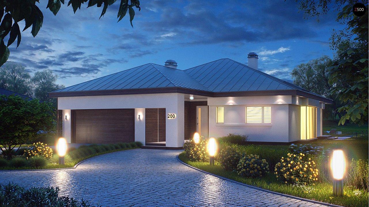 Удобный одноэтажный дом с гаражом для двух автомобилей, с большой площадью остекления в дневной зоне. 1