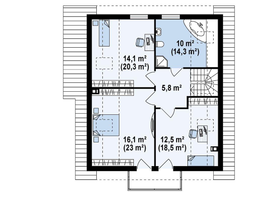 Экономичный в строительстве дом с дополнительной спальней на первом этаже. план помещений 2