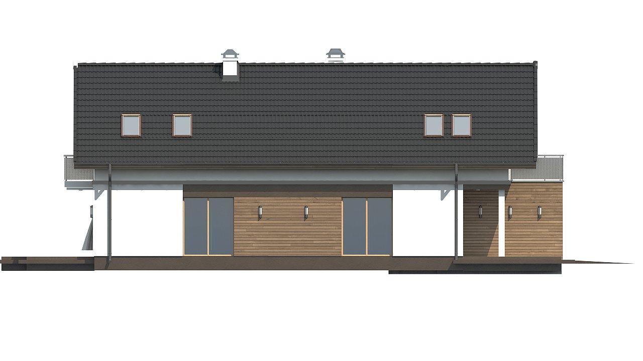 Практичный и уютный дом простой формы для узкого участка с террасой над гаражом. 4