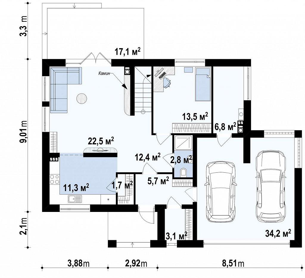 Практичный двухэтажный дом простой формы с низкой крышей, с гаражом для двух автомобилей. план помещений 1
