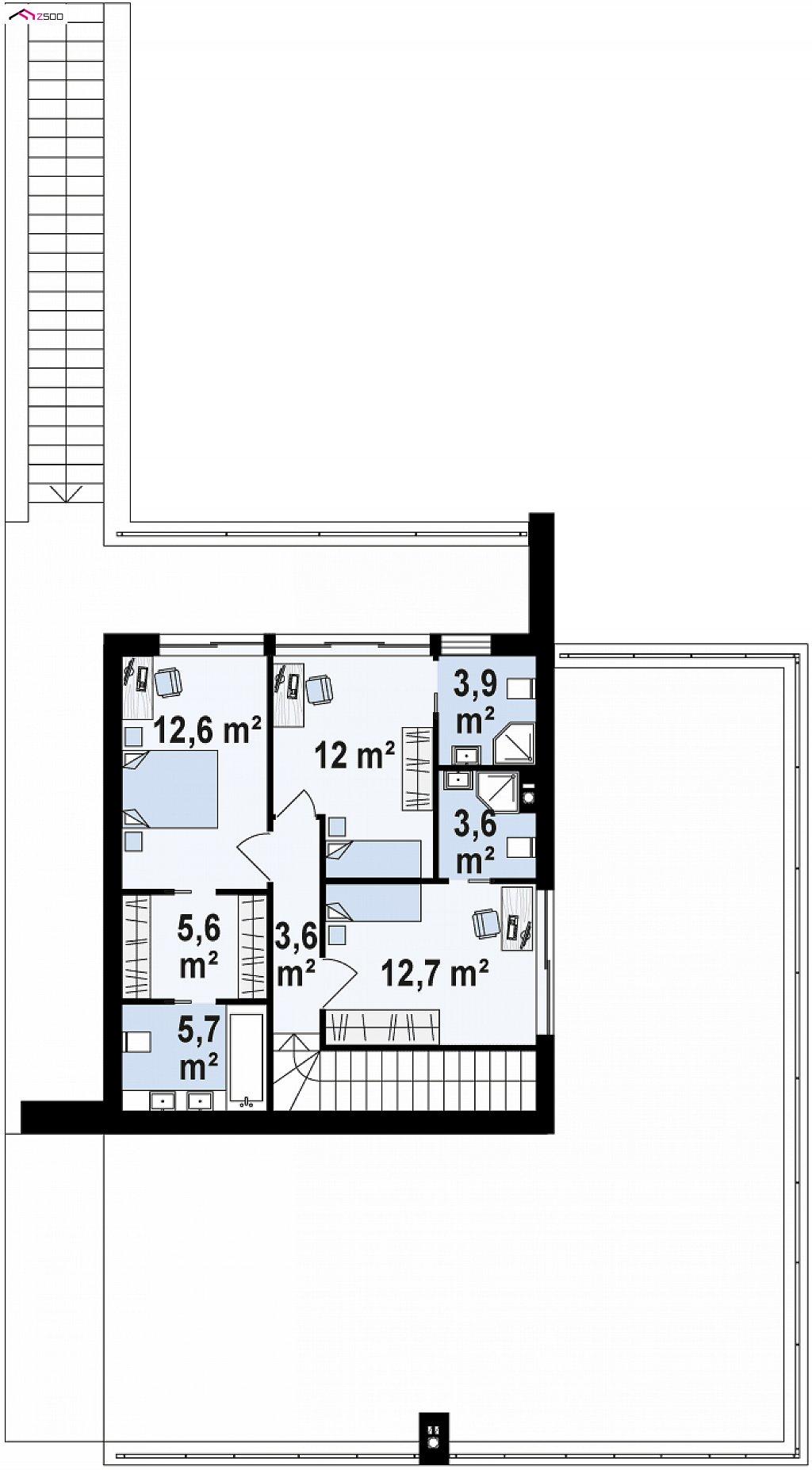 Стильный современный проект двухэтажного дома, подходит для строительства на участке со склоном. план помещений 2