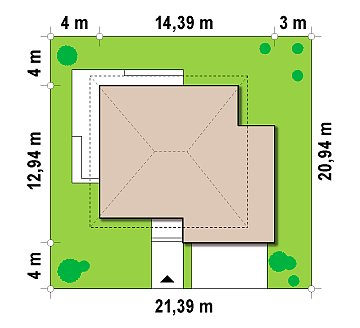 Просторный двухэтажный дом простой формы с террасой над гаражом. план помещений 1