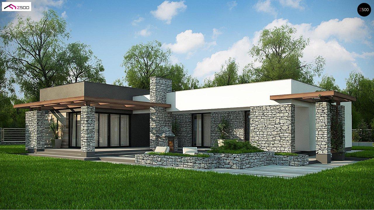 Современный одноэтажный дом с двойным гаражом и плоской крышей 5
