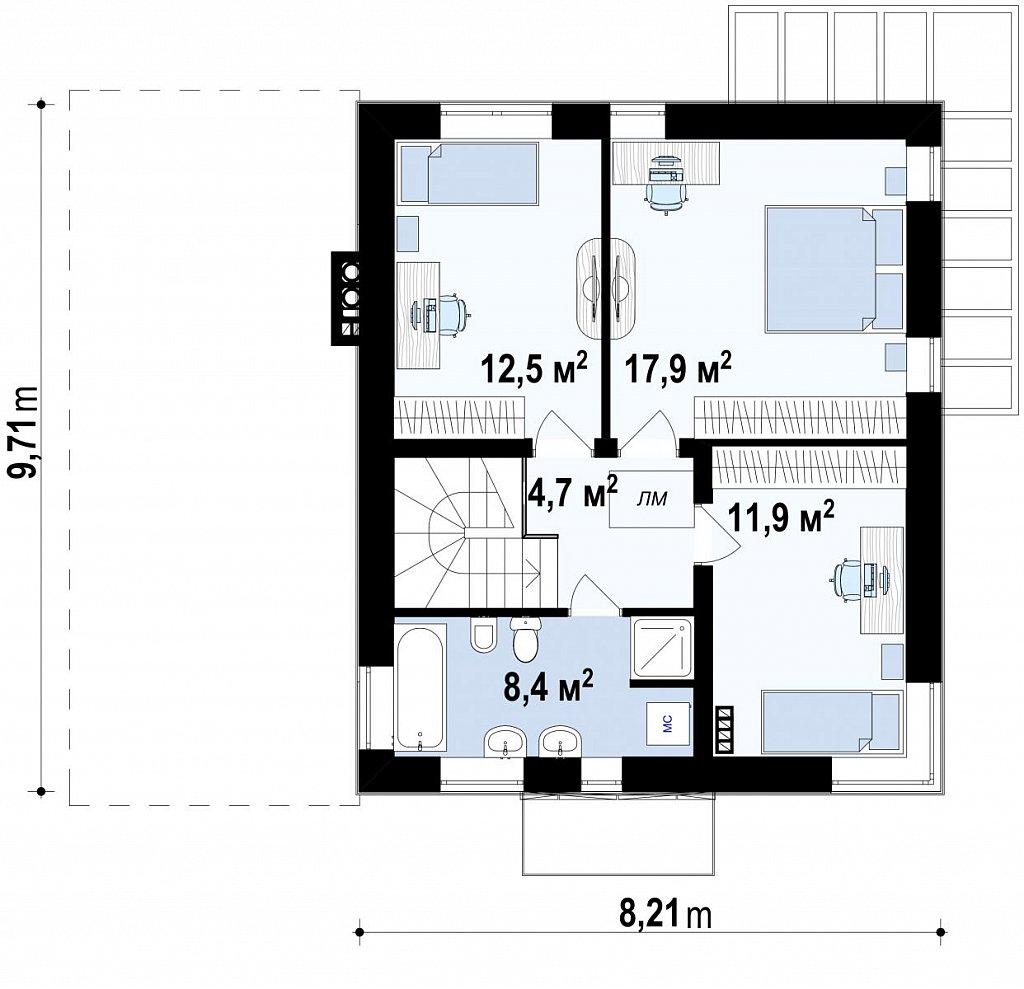 Двухэтажный дом, сочетающий традиционные формы и современный дизайн, с тремя спальнями и гаражом. план помещений 2
