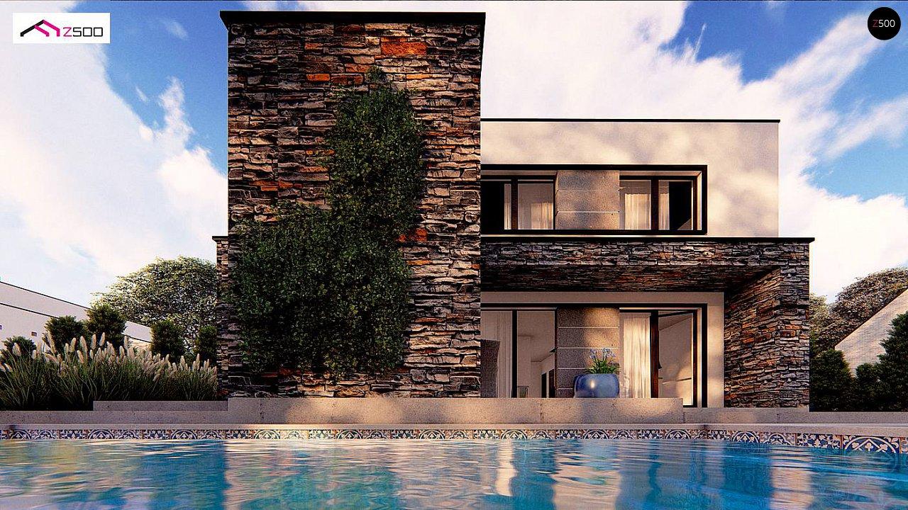 Проект двухэтажного просторного дома с плоской кровлей и панорамным остеклением. 2