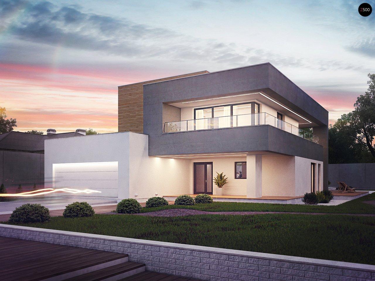 Современный двухэтажный дом с большой площадью остекления. - фото 1