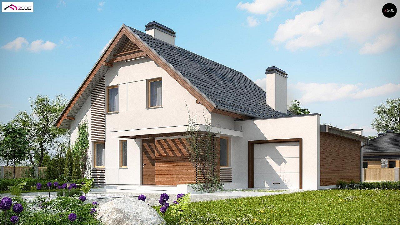 Проект мансардного дома в классическом стиле с гаражом на одно авто. 1