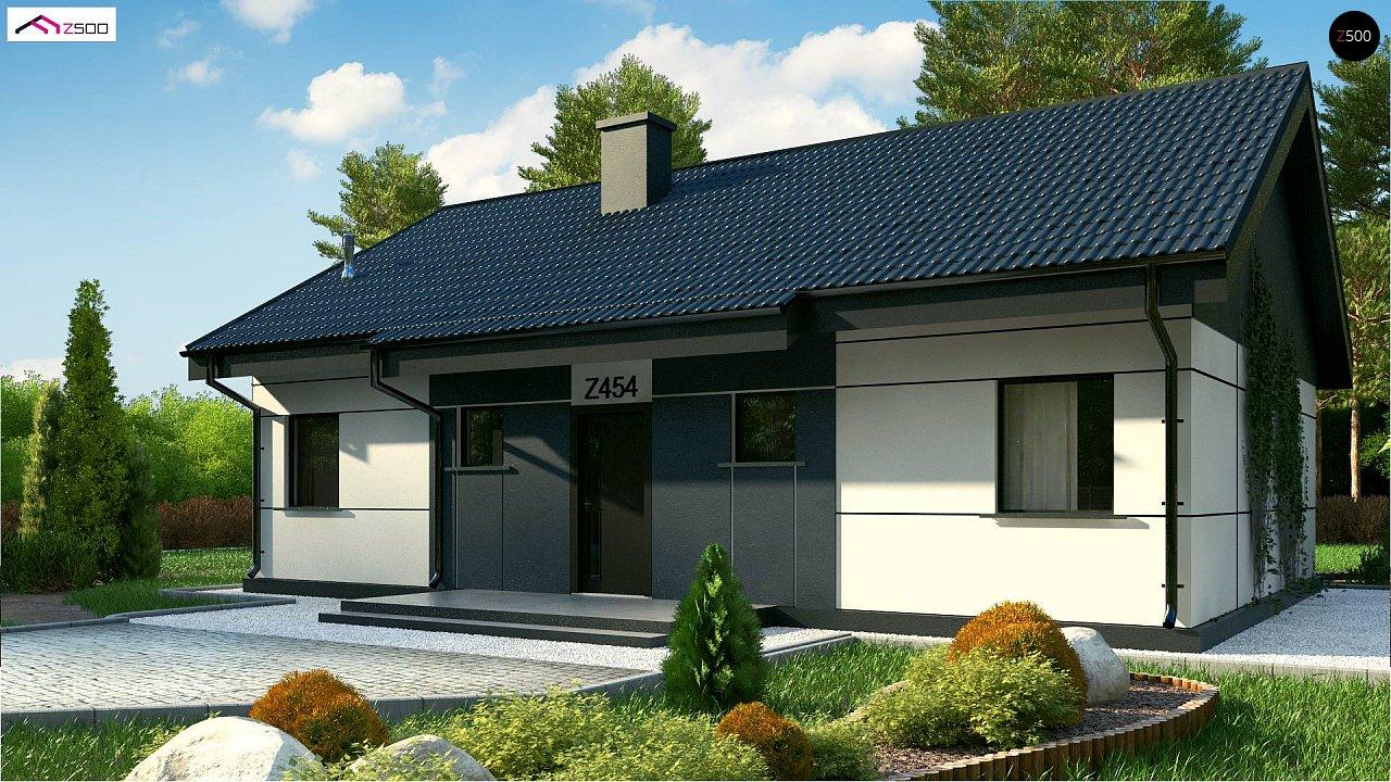 Проект одноэтажного дома традиционной формы с современным экстерьером. 1