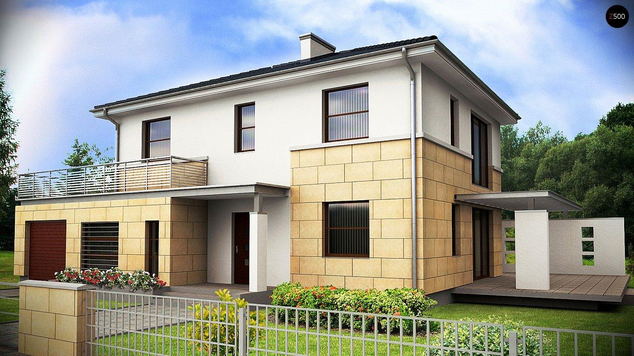 Современный двухэтажный дом простой формы с террасой на втором этаже. - фото 1