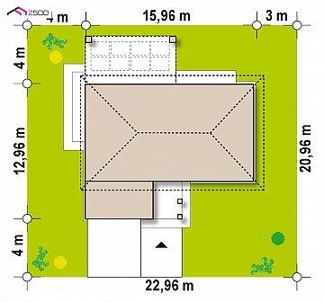 Компактный одноэтажный коттедж с гаражом для одной машины план помещений 1