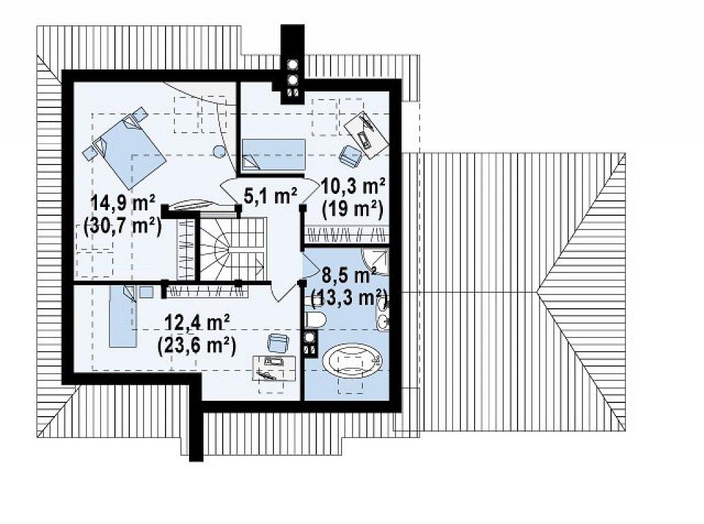 Проект комфортного дома с большим гаражом и дополнительной спальней на первом этаже. план помещений 2