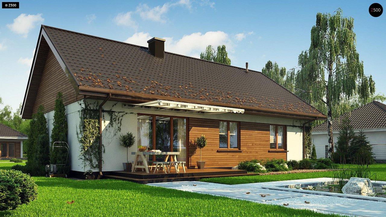 Аккуратный одноэтажный дом с деревянной отделкой на фасадах. 4