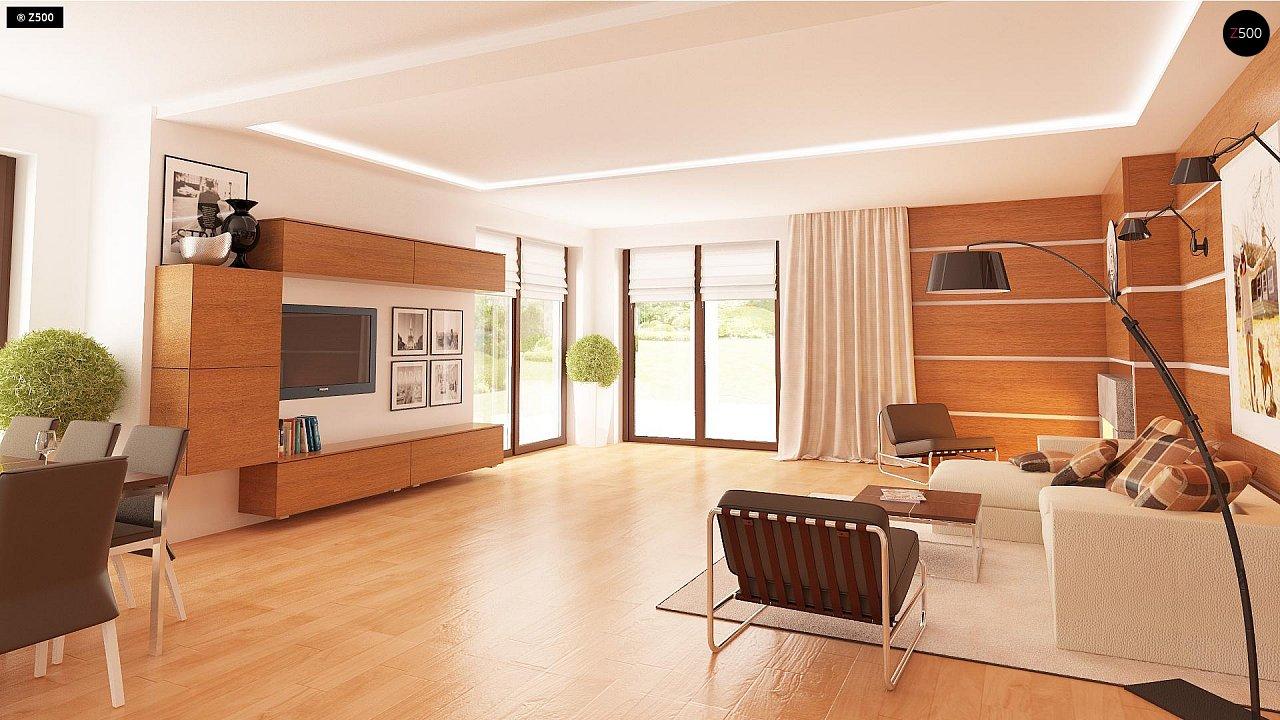 Одноэтажный просторный дом с эркером и крытой террасой. 11