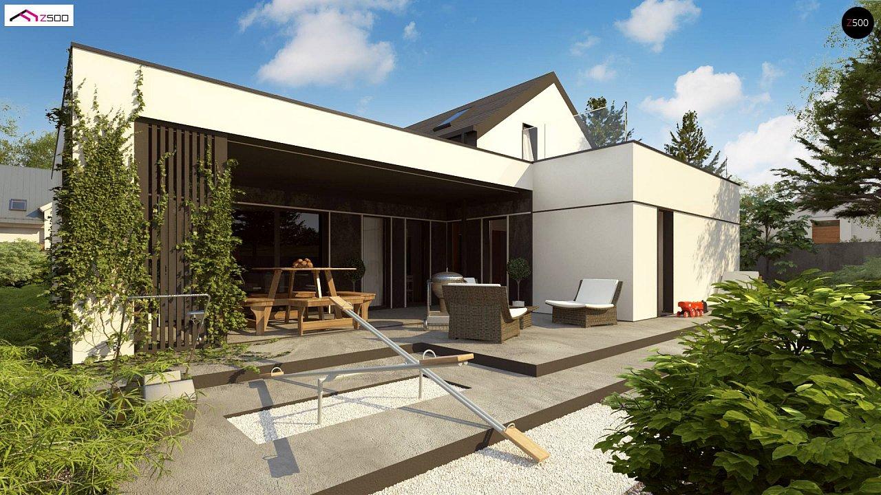Проект дома с мансардой в европейском стиле с гаражом на одно авто. - фото 4