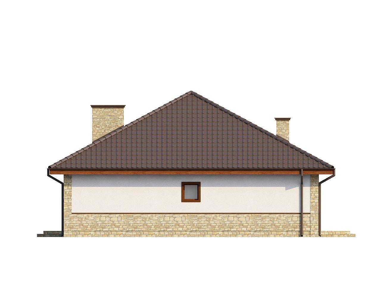 Одноэтажный дом с многоскатной кровлей, эркером и камином на террасе. - фото 23
