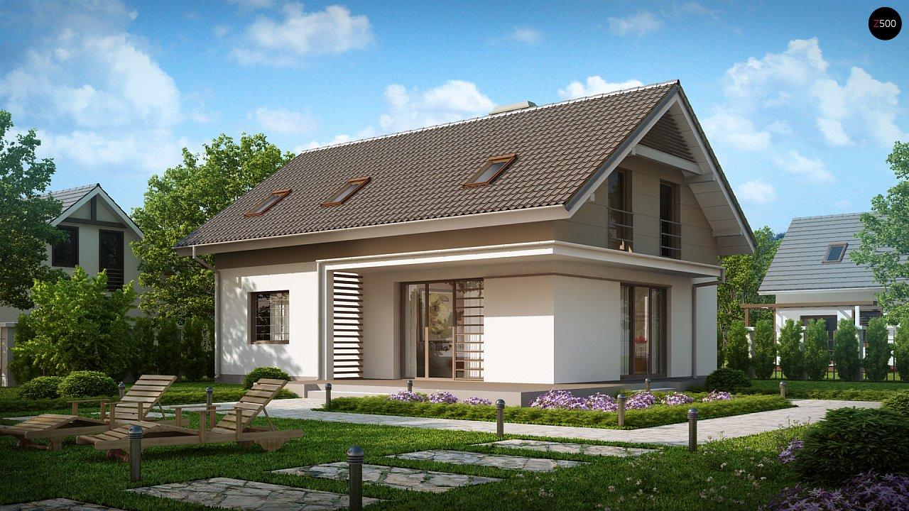 Проект простого и аккуратного дома с дополнительной ночной зоной на первом этаже. 1