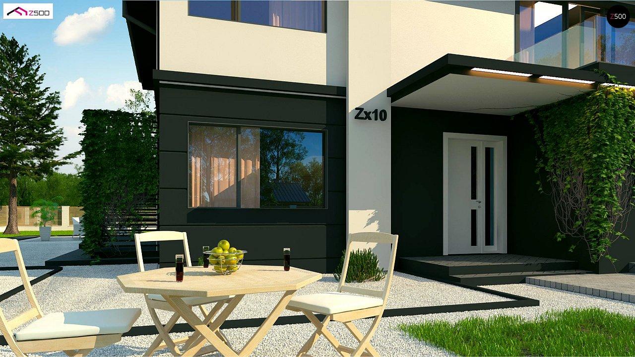 Просторный двухэтажный дом простой формы с террасой над гаражом. - фото 5