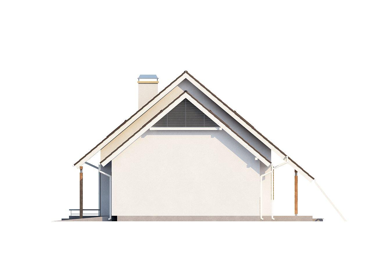 Проект просторного функционального дома с мансардой, гаражом для одной машины и дополнительной спальней на первом этаже. 6